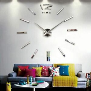Wall Clock Home Watch 3D DIY Acrylic Mirror Stickers Needle Quartz Decors Clocks