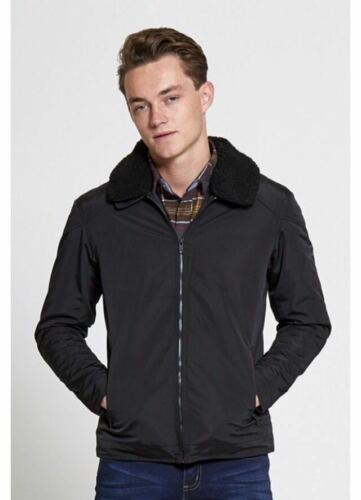 NEW MENS BRAVE SOUL SHERPA FLEECE COLLAR FLYING JACKET LINED QUILTED PADDED COAT