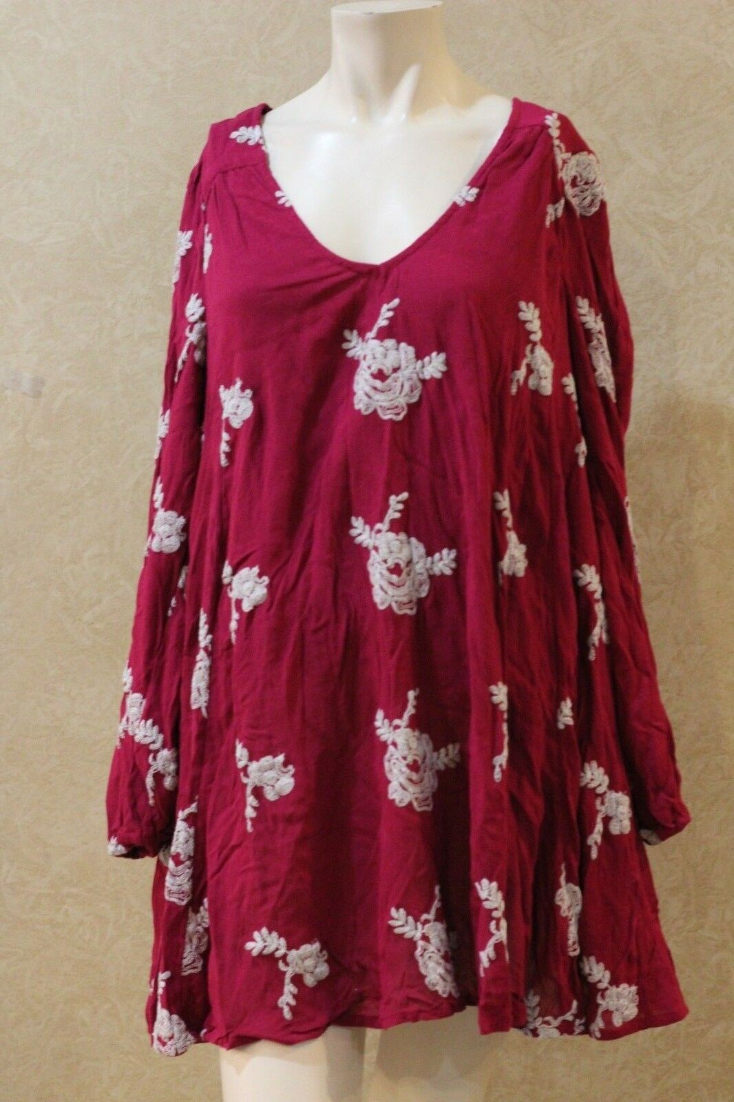 Free People Peasant-Sleeve Embroidered Shi Purple Comb S  ______________ B23C2