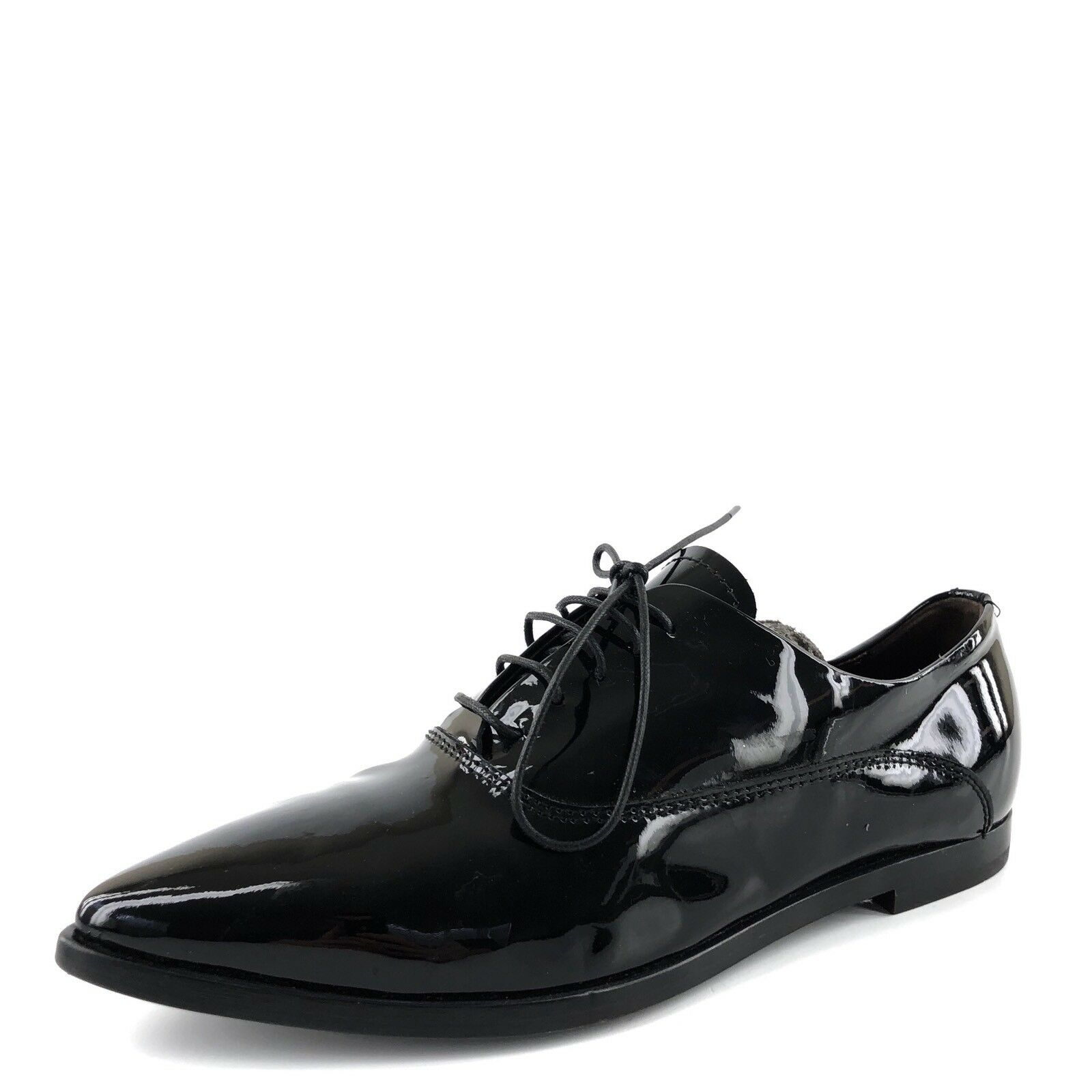 AGL Pointy Toe Black Patent Leather Lace Up Casual Oxfords Womens Size 35 M
