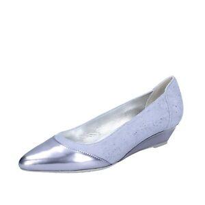 Dettagli su Scarpe donna HOGAN 37,5 EU ballerine blu camoscio argento pelle lucid BK686-37,5