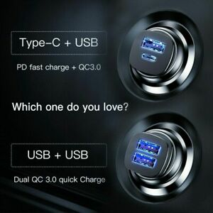 Details about Baseus 30W Dual USB C Quick Charge QC 4.0 Car Charger For iPhone Samsung LG HTC