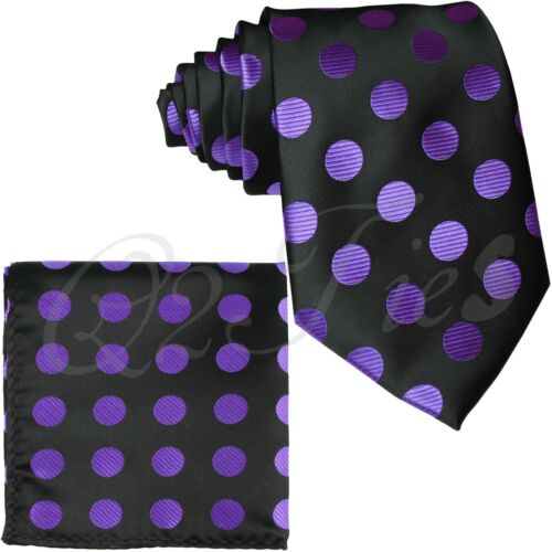 Men/'s Self tie Neck ties And Pocket Square Set BIG STRIPES POLKA DOT Prom Formal
