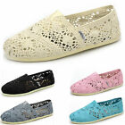 2017 New Brand Casual Canvas Leisure Womens Crochet Slip on Flats Shoes SIZE 7