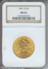 1901-S $10 Liberty San Francisco Eagle Ngc Ms63 Gold Coin Ms-63 !