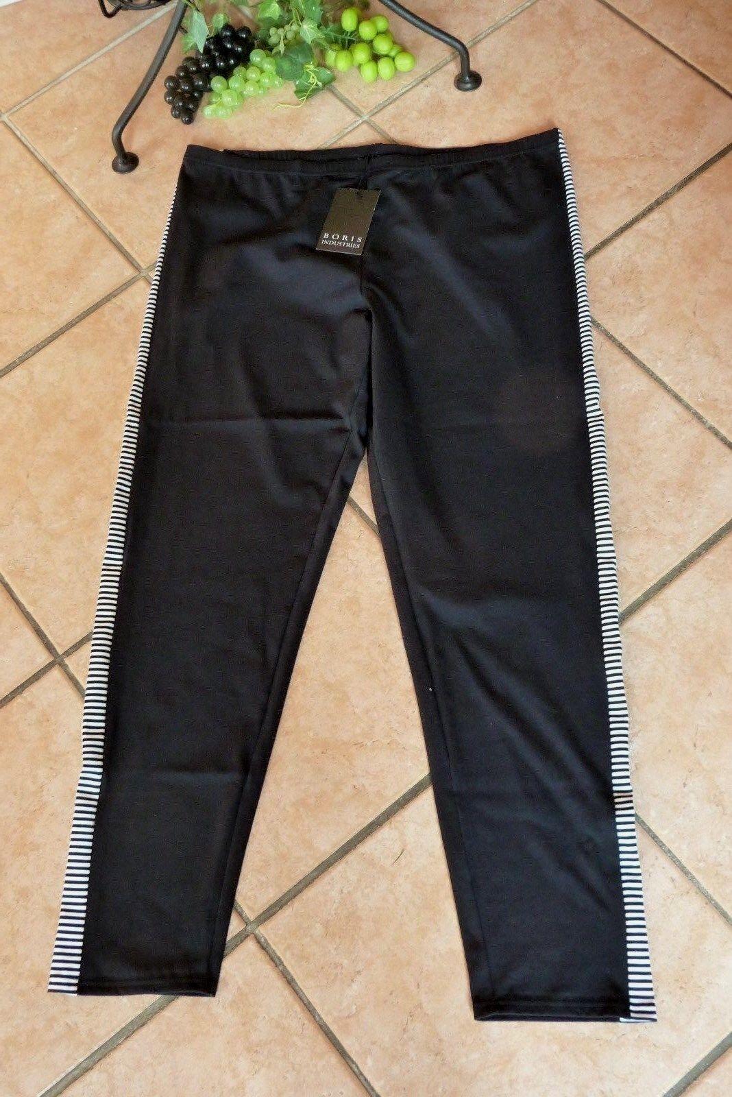 BORIS INDUSTRIES Leggings 50 52 (5) NEU black white Stretch Baumwolle LAGENLOOK
