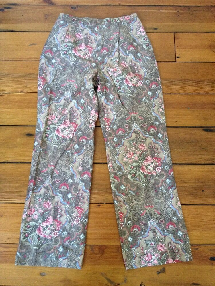 Talbots Petites Floral Paisley Damask Silk Linen Dress Pants 6 28  Waist Womens