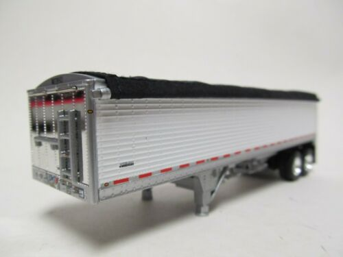 DCP//FIRST GEAR 1//64 SCALE SHORT WILSON GRAIN TRAILER WHITE WITH BLACK TARP