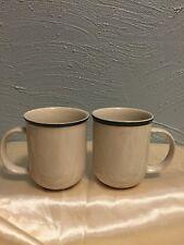 Tienshan Kitchen Basics White Coffee Mug Blue Band