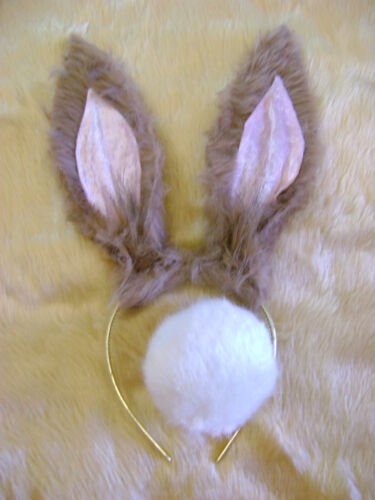 Peter Rabbit Ears And White Bob Tail World Book Day Fancy Dress Set Light Brown