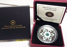 CANADA 2009 $20 SILVER CRYSTAL SNOWFLAKE  PROOF QUALITY BLUE ELEMENTS COA BOX