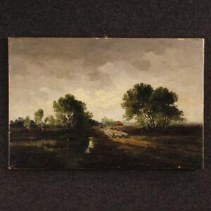 Dipinto-quadro-paesaggio-firmato-olio-tela-stile-antico-impressionista-olandese