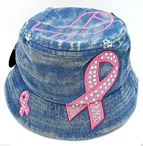 33c02140131 Image is loading Distressed-Denim-Rhinestone-Pink-Ribbon-Bucket-Hat-Boonie-
