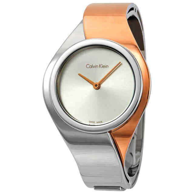 Calvin Klein Senses Silver Dial Ladies Small Bangle Watch K5N2S1Z6