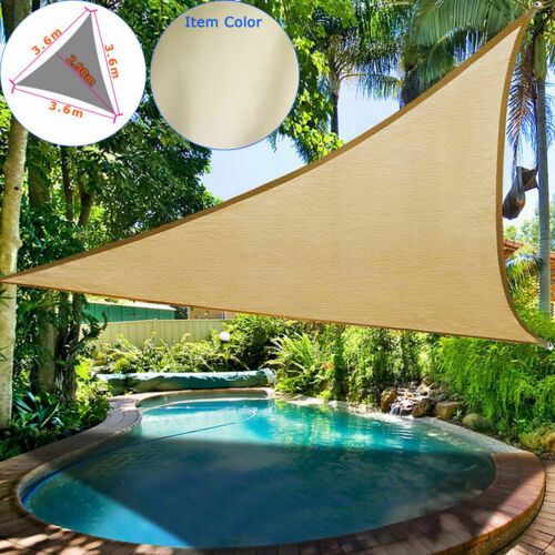 Waterproof Sun Shade Sail Garden Patio Awning Canopy 98/% UV Block W// Ropes NEW