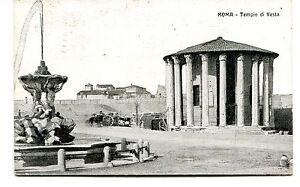 1925-Roma-Tempio-di-Vesta-Carrozza-fontana-Guller-dest-Lucca-FP-B-N-ANIM-VG