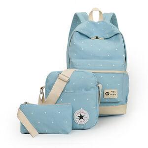 Korean Girl Backpack Three Set School Bag Canvas Backpacks Teenage ...