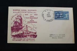 Marine-Abdeckung-1950-Schiff-Stempel-150TH-Jahrestag-Boston-Marine-Werft-2898