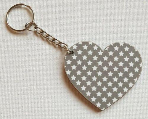 Handmade Wooden Heart Keyring Keychain Funky Charcoal Grey /& White Stars Print