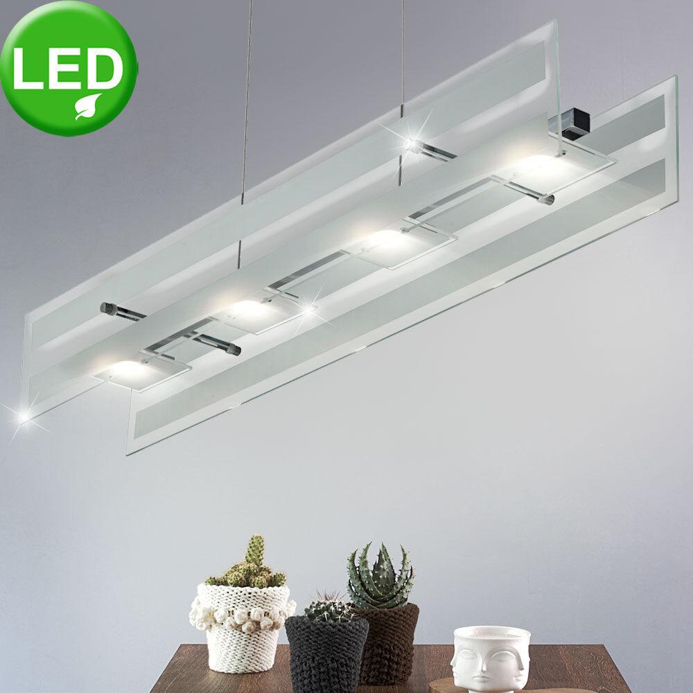 Led Techo Diseño Péndulo Lámpara Colgante Iluminación Cromo Vidrio Cocina