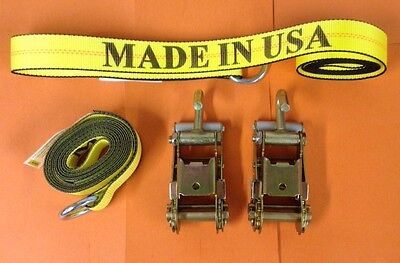 6 PC 2-WHEEL LIFT TOW TRUCK WRECKER HAULER LASSO STRAPS 2-RATCHETS w/2 J HOOKS
