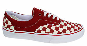 bb7f1fc65a Vans OTW Era Checkerboard Unisex Red White Lace Up Canvas Trainers ...