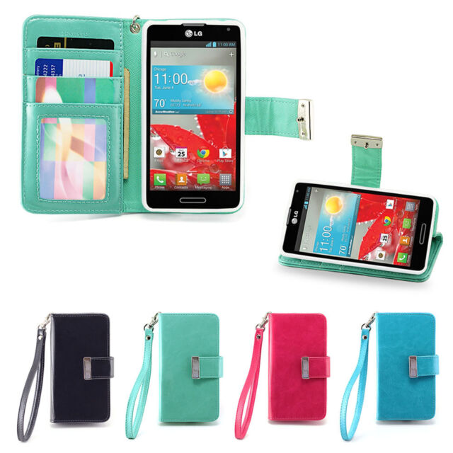 IZENGATE Executive Wallet Flip Case PU Leather Cover Folio for LG Optimus F7