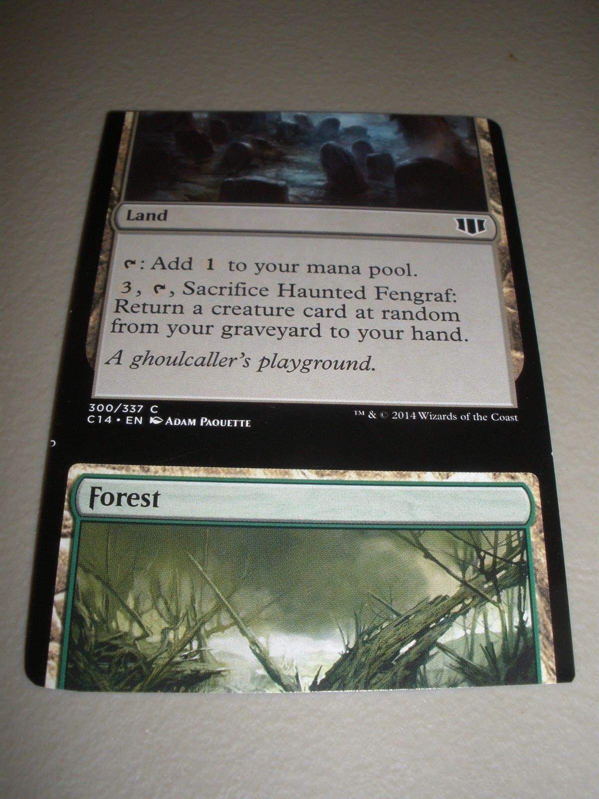 MTG Magic Commander Miscut Misprint x1 Forest    Haunted Fengraf NM