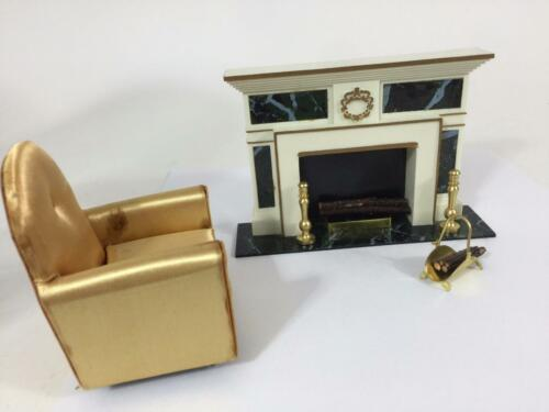 Ideal Vtg Petite Princess Doll House Furniture Fireplace Set Gold Chair LR Set 8