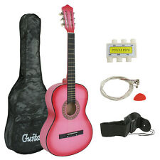 New PINK Beginners Acoustic Guitar With Guitar Case, Strap, Tuner and Pick