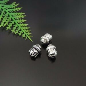 49PCS-Antique-Silver-Tone-Alloy-Buddha-Head-Charms-Beads-10-7-7mm-39406