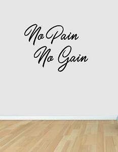 No Pain No Gain Wall Art Sticker Bedroom Home Gym Fitness