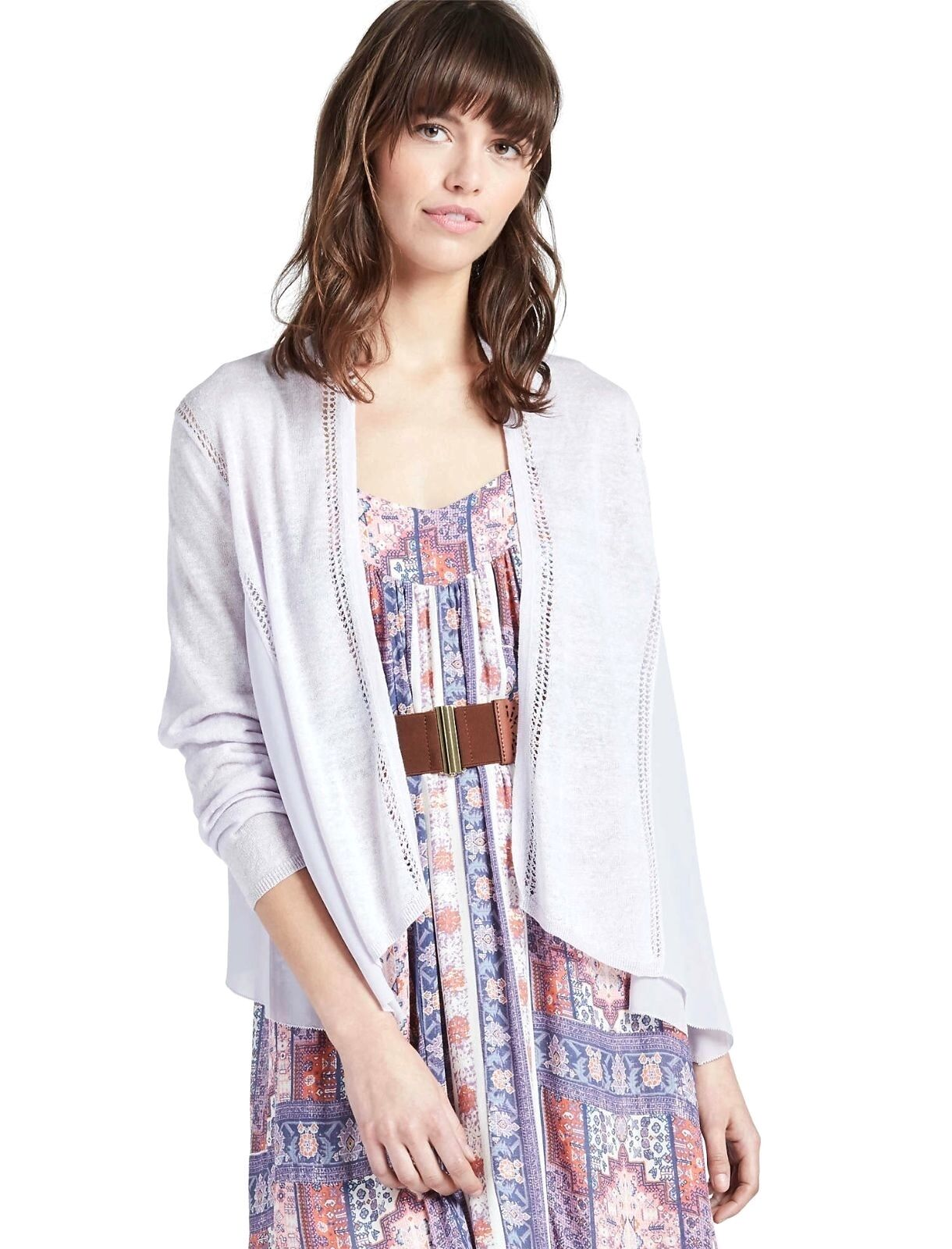 Lucky Brand - M Nwt - violets Mixte Mousseline & Tricot voituredigan Ouvert Pull