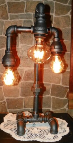 Industrial Pipe Three Tier Lamp steampunk style with vintage bulbs