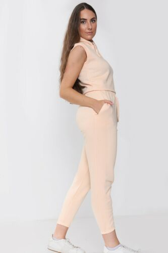 Details about  /Ladies Loungewear Cropped Hooded Sleeveless Top and Matching Jogging Bottoms Set