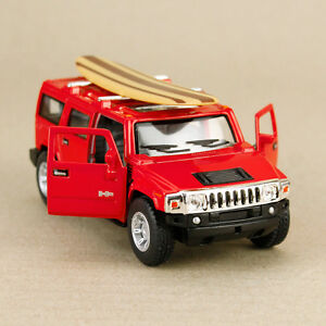 2008-Red-Hummer-H2-SUV-Surfboard-1-40-scale-12cm-Diecast-Model-Car-Pull-Back