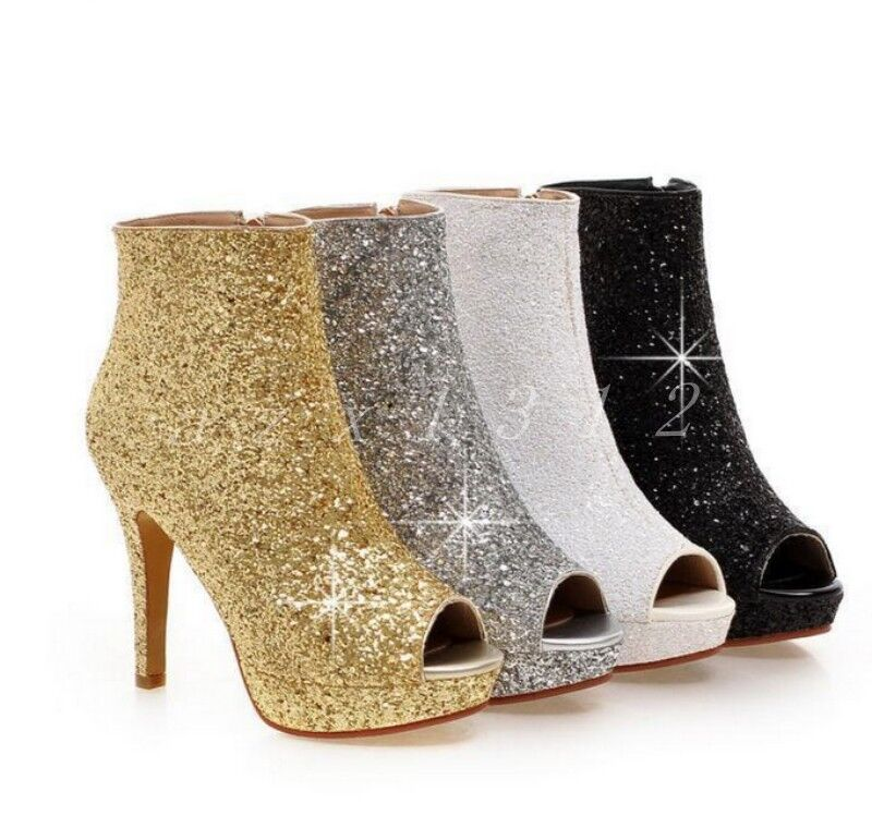 Hot Womens Sequins Open Toe Stiletto Ankle Boots Side Zipper Wedding Date shoes