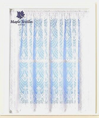 White Lace Fan Design Scallop Hem Thick Jacquard Net Curtain Sold By The Metre Matige Prijs
