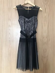 0ad756ed3b4 Details about Mango XS Black/Lace Dress - Brand New