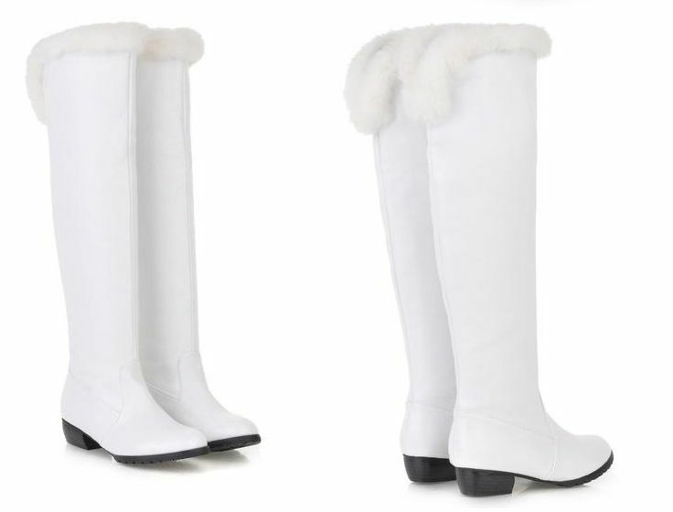 Boots shoes white hair synthetic heel 3.5 like leather comfortable 163