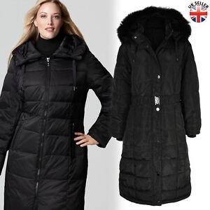 798433c0b00a9 Ladies Womens Plus Size Fur Hooded Quilted Padded Winter Coat Puffa ...