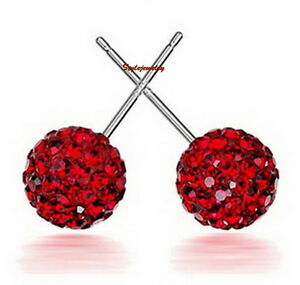 0ec3aadbb 925 Sterling Silver Red Made with Swarovski Crystal Round Ball Stud ...