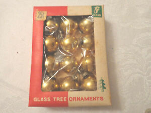 Small-Christmas-Balls-Gold-Feather-Tree-Glass-Ornaments-12-original-box-Vintage