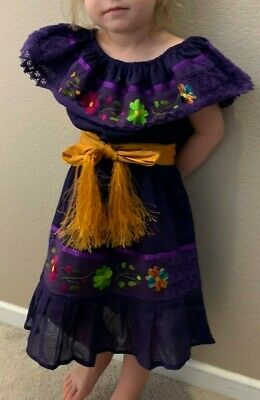 Mexican Girl Dress Yellow with Embroidery Flowers on front lace Gypsy SZ 1-5T