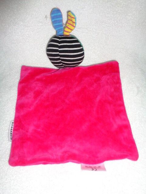 Security Blanket Bunny Baby Farbeful stripe GEGGAMOJA Swedish Organic Cotton Baby Bunny HTF 888ba5