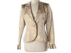 Women Anne Fontaine Gold Metallic Brocade Belted Jacket Blazer Size 40 4 6 8