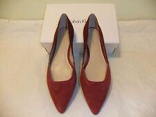 CALVIN KLEIN Hyacinth Burgundy Suede Leather Flat Ballet SZ 8 EU 38 NIB 109