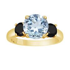Aquamarine Three-Stone Engagement Ring 14k Yellow Gold  2.60 Caratt Unique