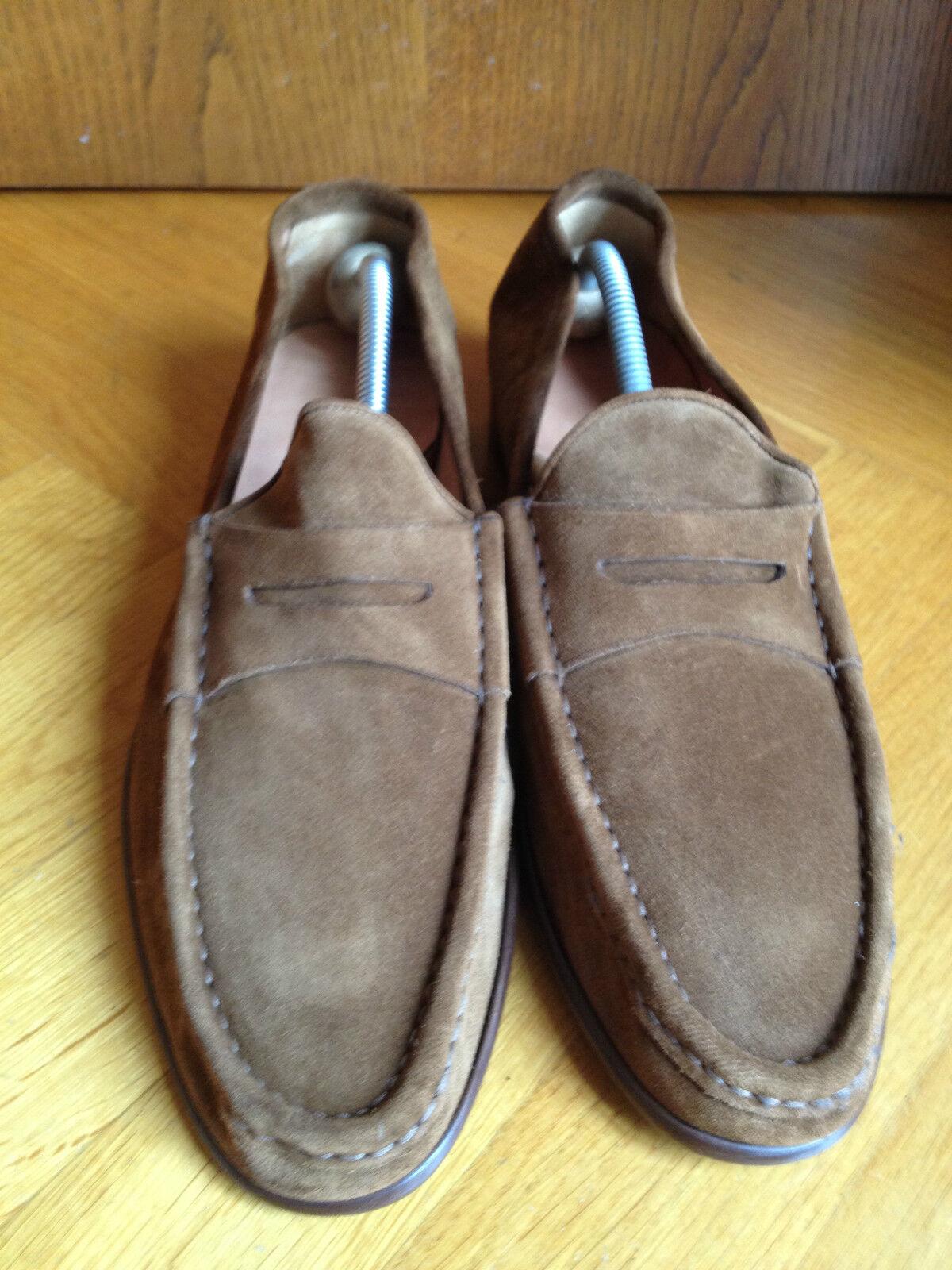 RALPH LAUREN brown BROWN SUEDE LOAFERS MOKASSIN DRESS SHOES US12 EUR 45 46 UK 11