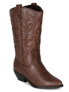 e99011b08c8 Details about Soda Women Cowgirl Cowboy Western Stitched Boots Pointy Toe  Knee High Brown RENO